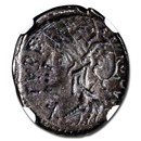 Roman Republic Silver Denarius (124 BC) Fine NGC
