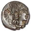 Roman Republic Silver Denarius 136 BC VF