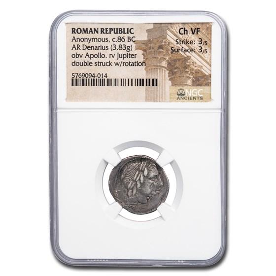 Roman Republic Silver Denarius (c.86 BC) Ch VF NGC