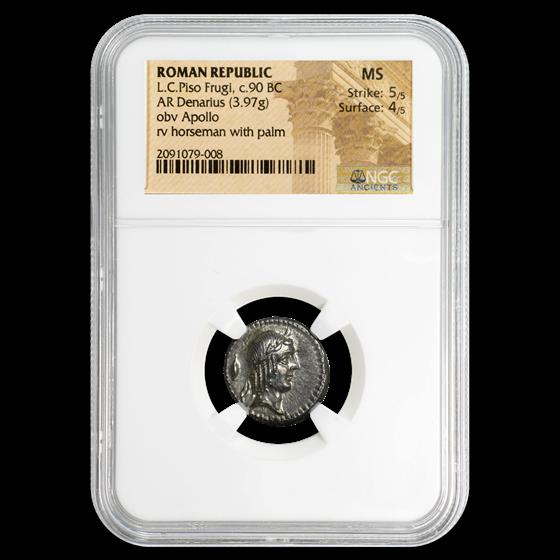Roman Republic Silver Denarius L.C. Piso Frugi (c.90 BC) MS NGC