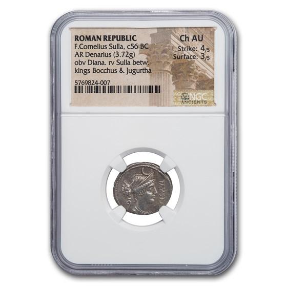 Roman Republic Silver Denarius Sulla (c.56 BC) Ch AU NGC