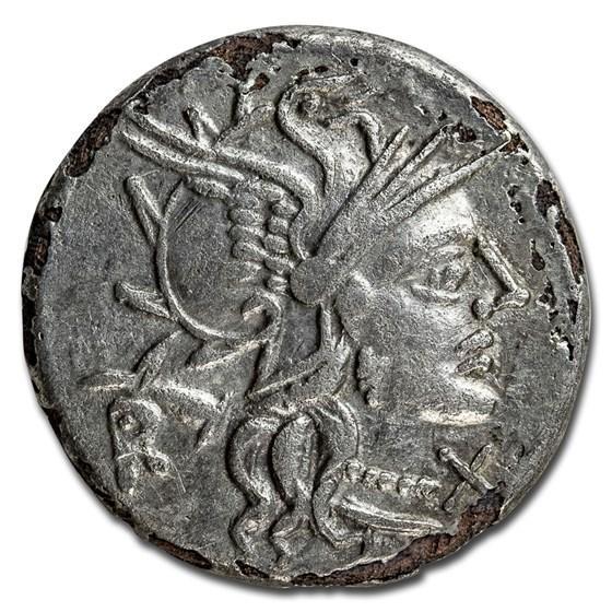 Roman Republic Silver Plated Denarius (145 BC) VF (Fourree)