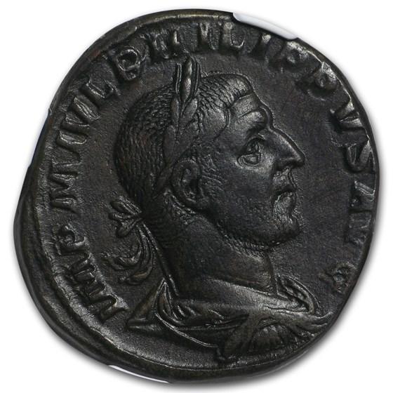 Roman Sestertius Emp. Phillip I/ Aequitas (244-249 AD) NGC XF