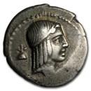 Roman Silver Denarius C. Piso Frugi (67 or 61 BC) Ch VF
