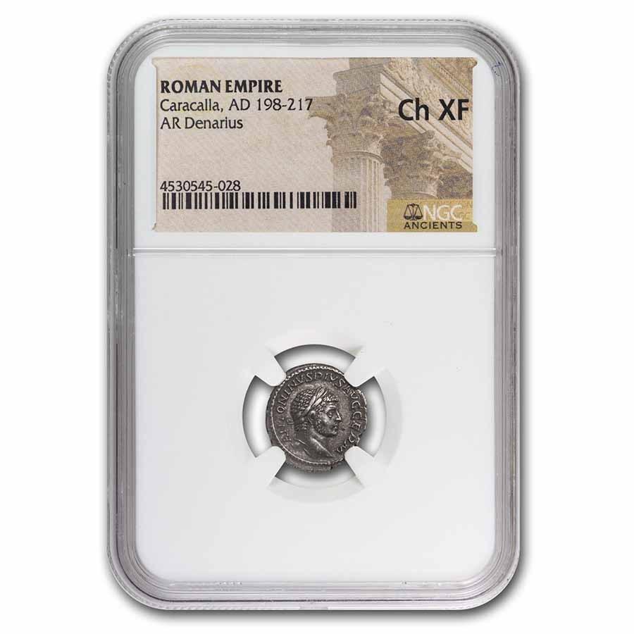 Roman Silver Denarius Caracalla (198-217 AD) Ch-XF NGC