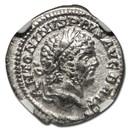 Roman Silver Denarius Emperor Caracalla (198-217 AD) XF NGC