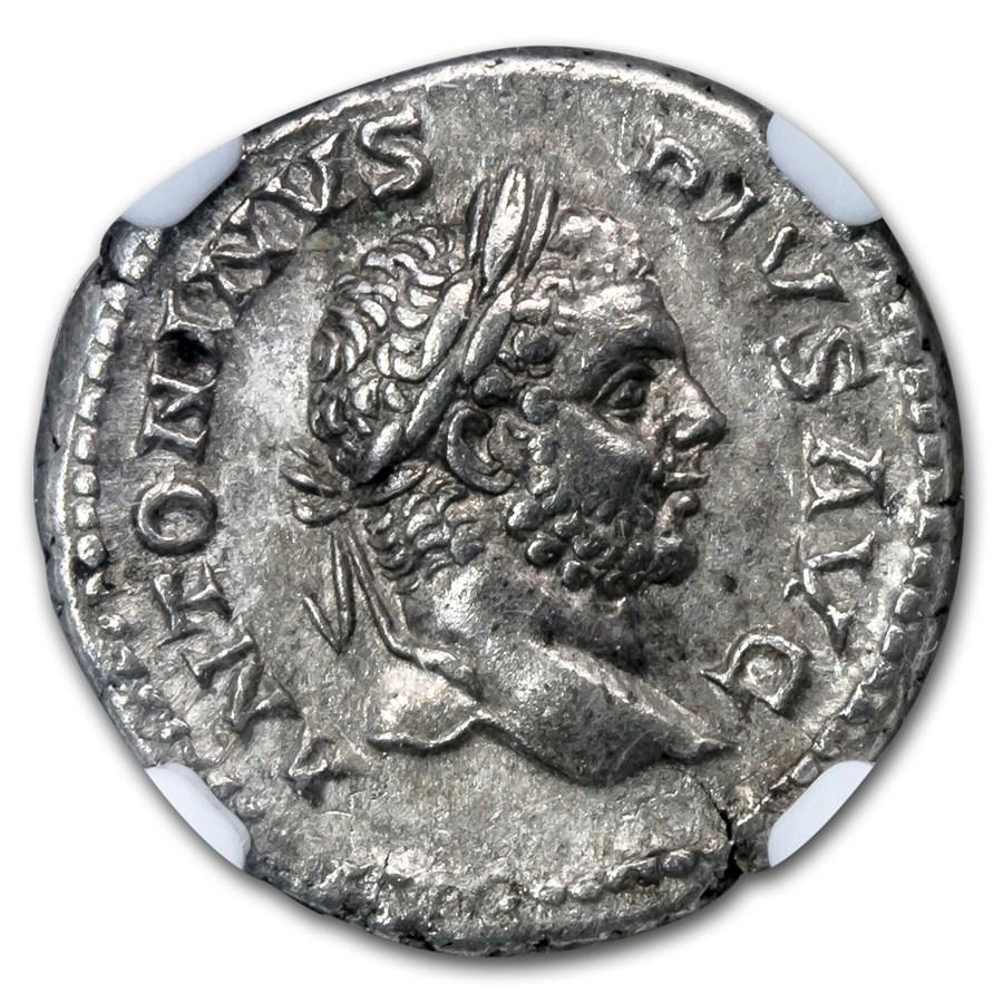 Roman Silver Denarius Emperor Caracalla XF NGC (198-217 AD)