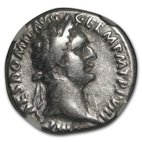 Roman Silver Denarius Emperor Domitian (81-96 AD) Ch Fine NGC