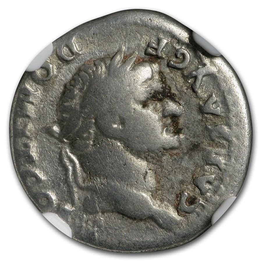 Roman Silver Denarius Emperor Domitian (81-96 AD) Fine NGC