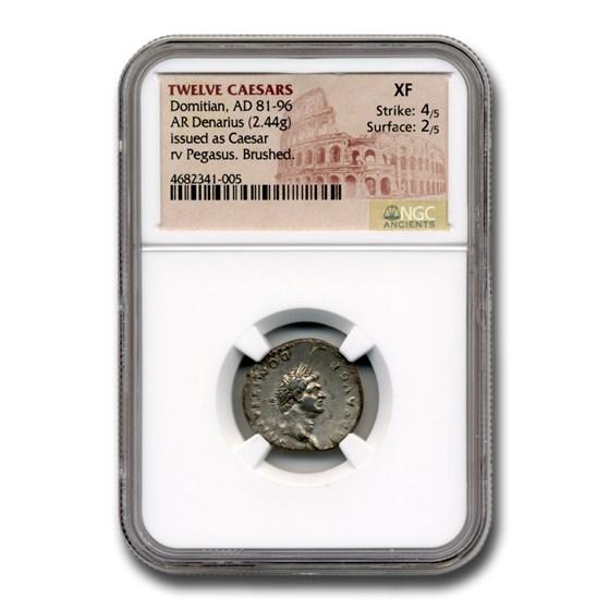 Roman Silver Denarius Emperor Domitian (81-96 AD) XF NGC