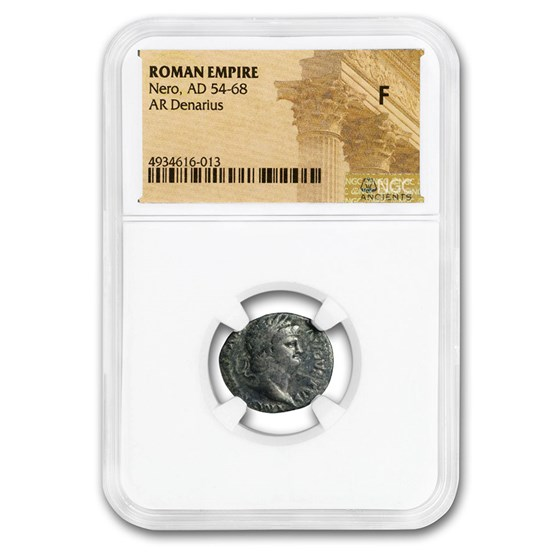 Roman Silver Denarius Emperor Nero (54-68 AD) Fine NGC (RIC I 60)