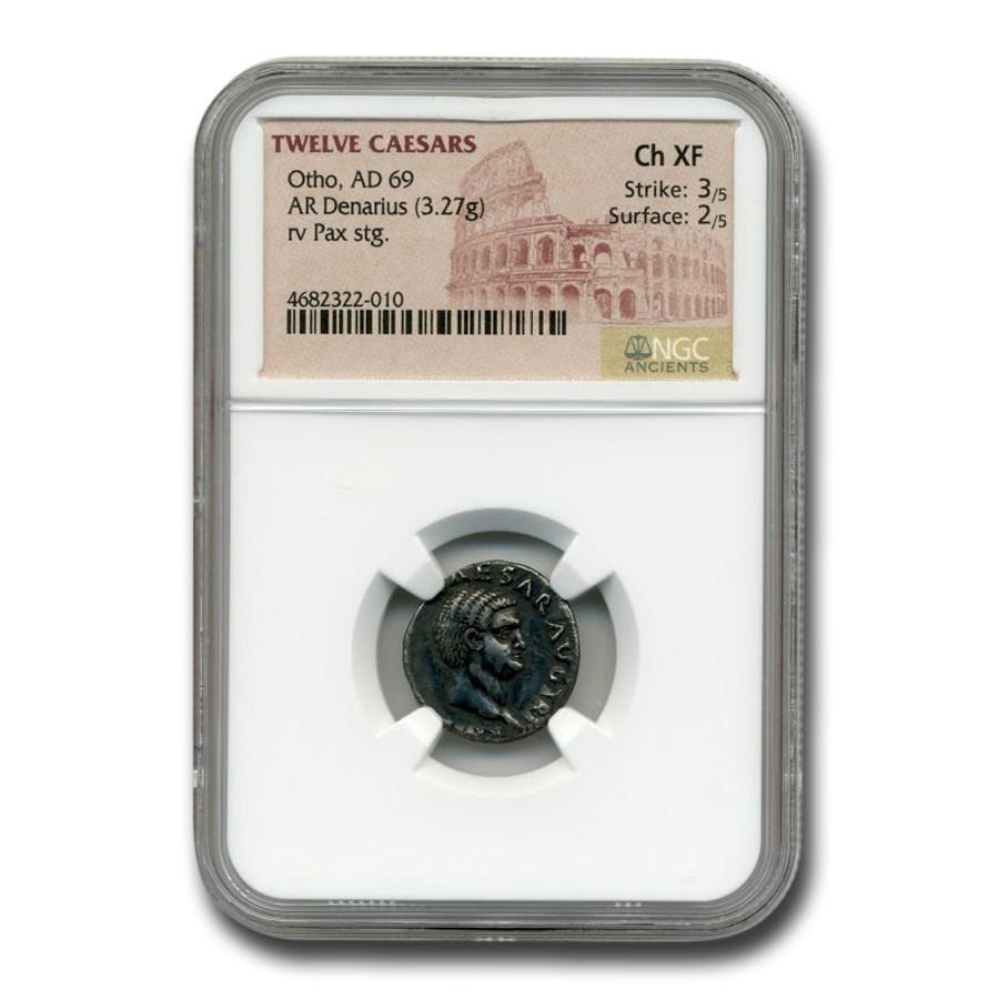Roman Silver Denarius Emperor Otho (69 AD) CH XF NGC