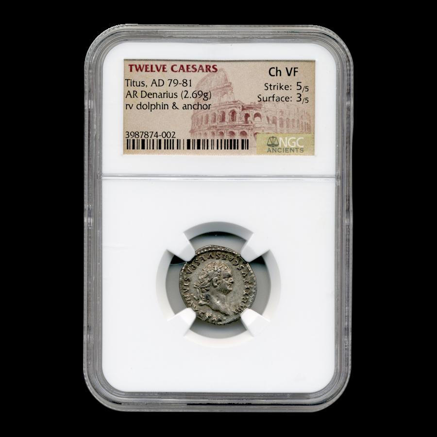 Roman Silver Denarius Emperor Titus (79-81 AD) Ch VF NGC
