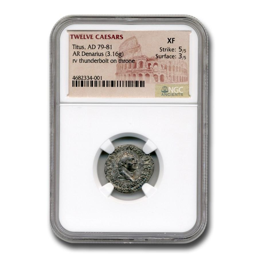 Roman Silver Denarius Emperor Titus (79-81 AD) XF NGC