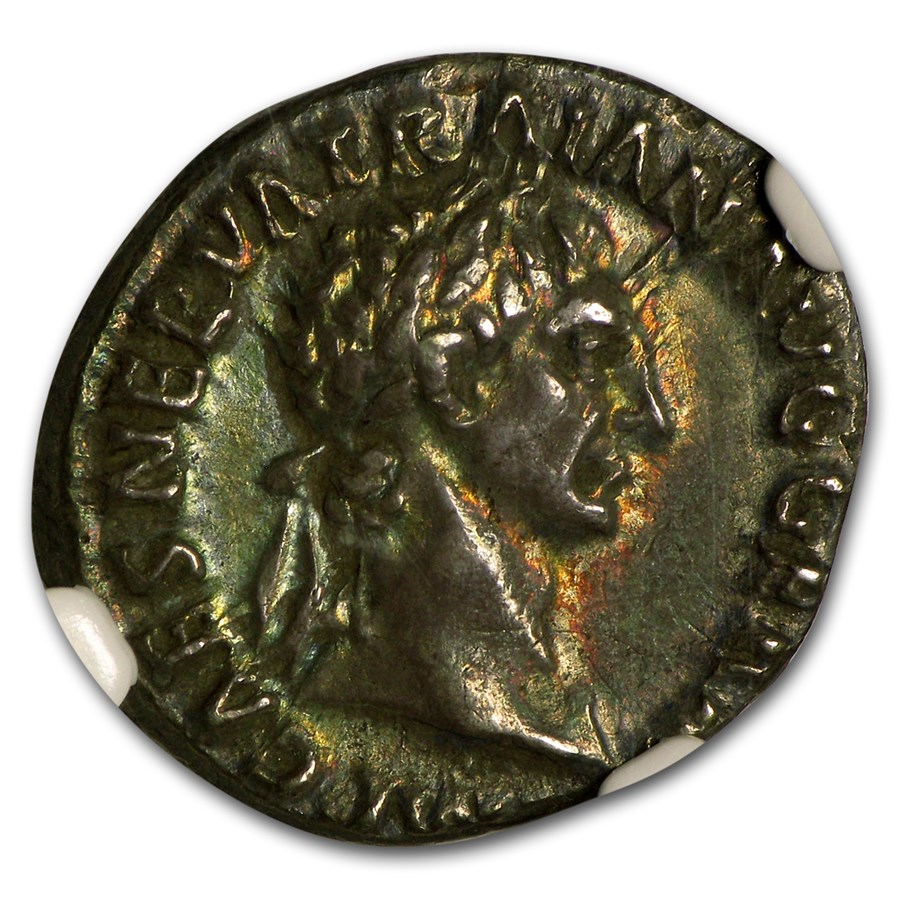 Roman Silver Denarius Emperor Trajan Ch XF NGC (98-117 AD)