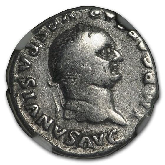 Roman Silver Denarius Emperor Vespasian (69-79 AD) Ch Fine NGC