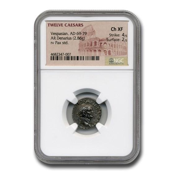 Roman Silver Denarius Emperor Vespasian (69-79 AD) Ch XF NGC