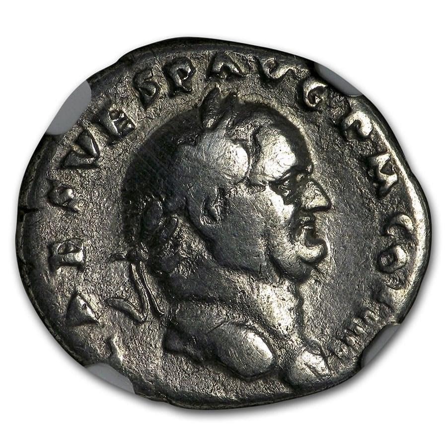 Roman Silver Denarius Emperor Vespasian (69-79 AD) Fine NGC