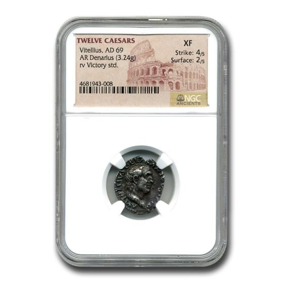 Roman Silver Denarius Emperor Vitellius (69 AD) XF NGC