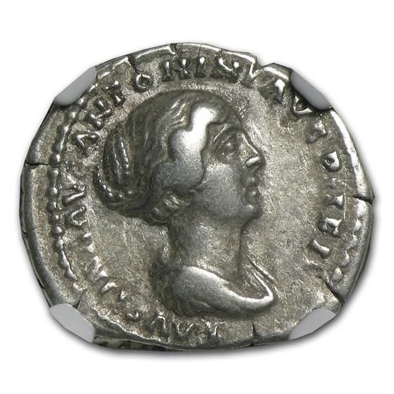 Roman Silver Denarius Faustina Jr. (147-175/6 AD) Ch-VF NGC