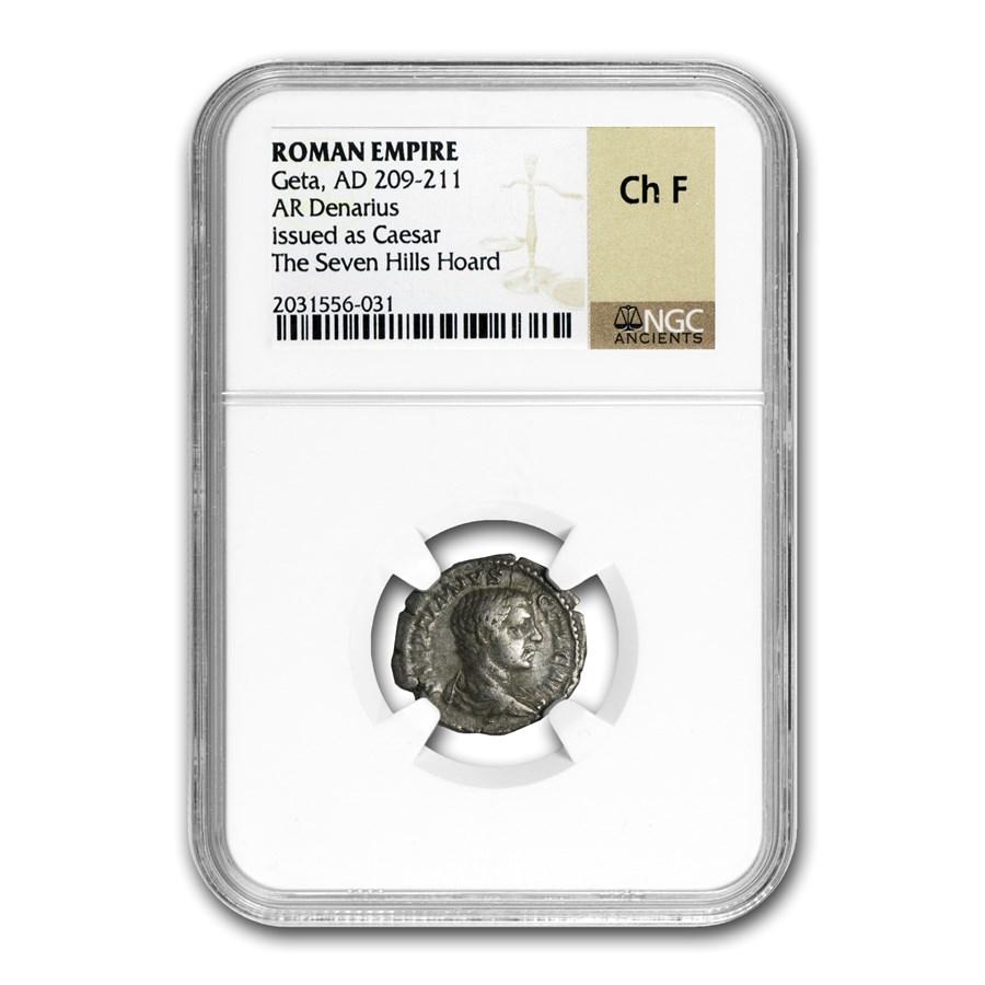 Roman Silver Denarius Geta as Caesar Ch-F NGC (209-211 AD)