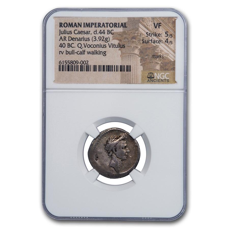 Roman Silver Denarius Julius Caesar (d.40 BC) VF NGC (Cr-526/4)
