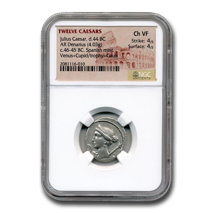 Roman Silver Denarius Julius Caesar (d 44 BC) CH VF NGC