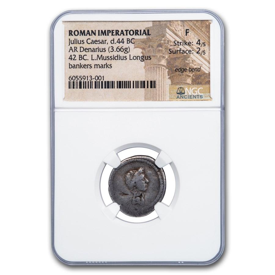 Roman Silver Denarius Julius Caesar (d.44 BC) Fine NGC
