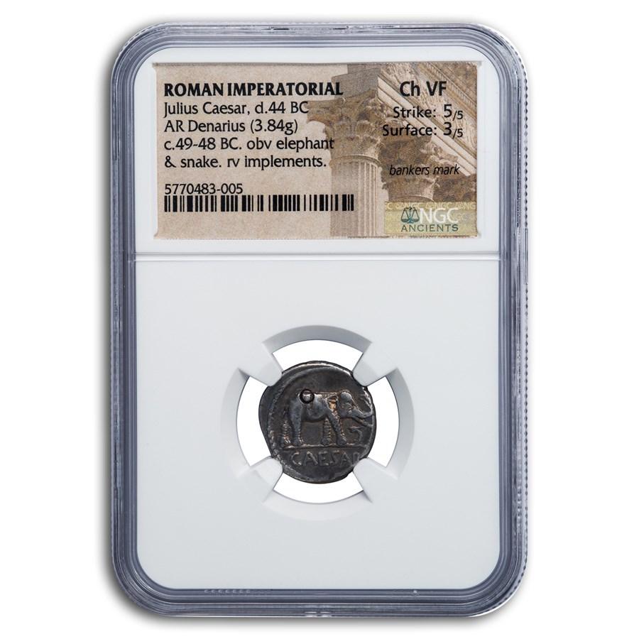 Roman Silver Denarius Julius Caesar Elephant (44 BC) Ch VF NGC