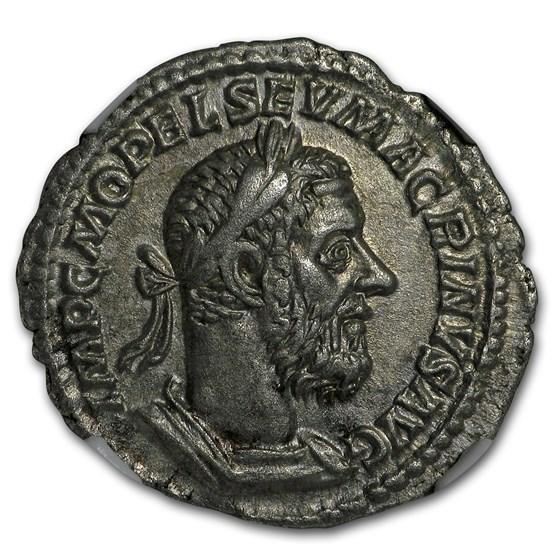 Roman Silver Denarius Macrinus (217-218 AD) XF NGC