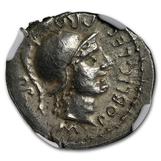 Roman Silver Denarius Pompey Jr. (d. 45 BC) AU NGC