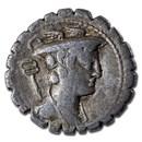 Roman Silver Denarius Serratus C. Mamilius Limetanus (82 BC) VF