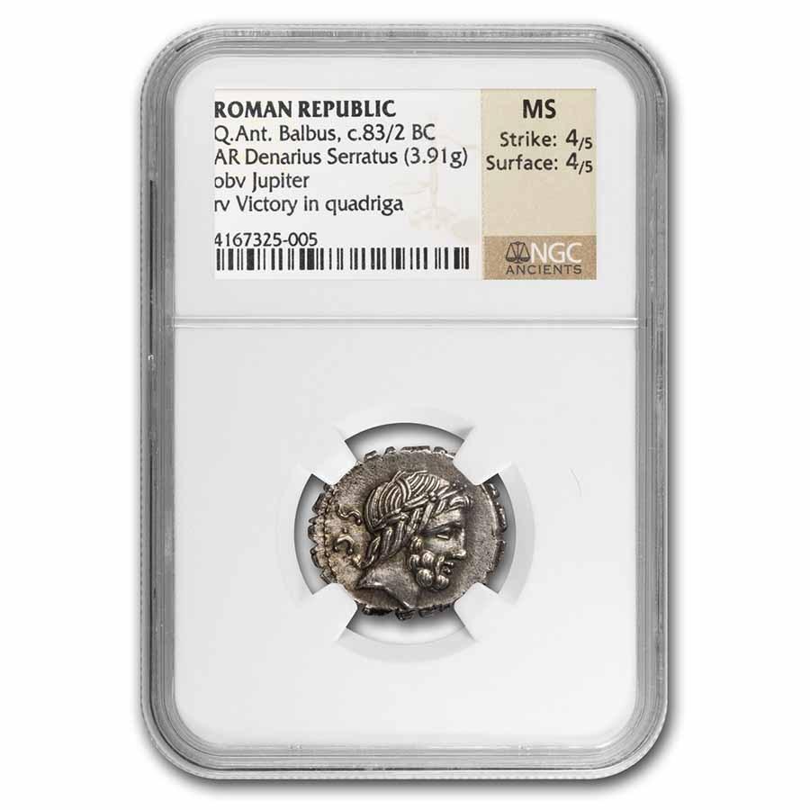 Roman Silver Denarius Serratus Q. Ant. Balbus (83 BC) MS NGC