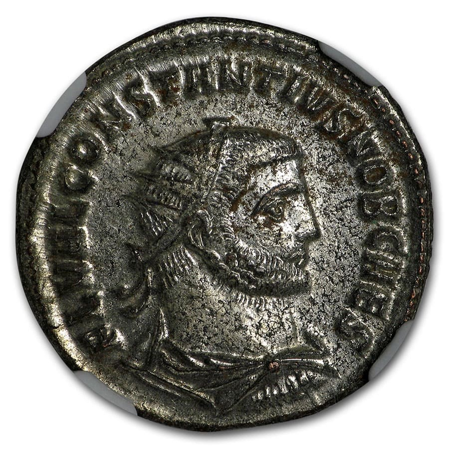 Roman Silvered Aurelianianus Emp Constantius I 305-306 AD MS NGC