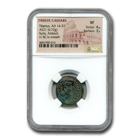 Roman Syria Antioch AE 21 Emperor Tiberius (14-37 AD) XF NGC