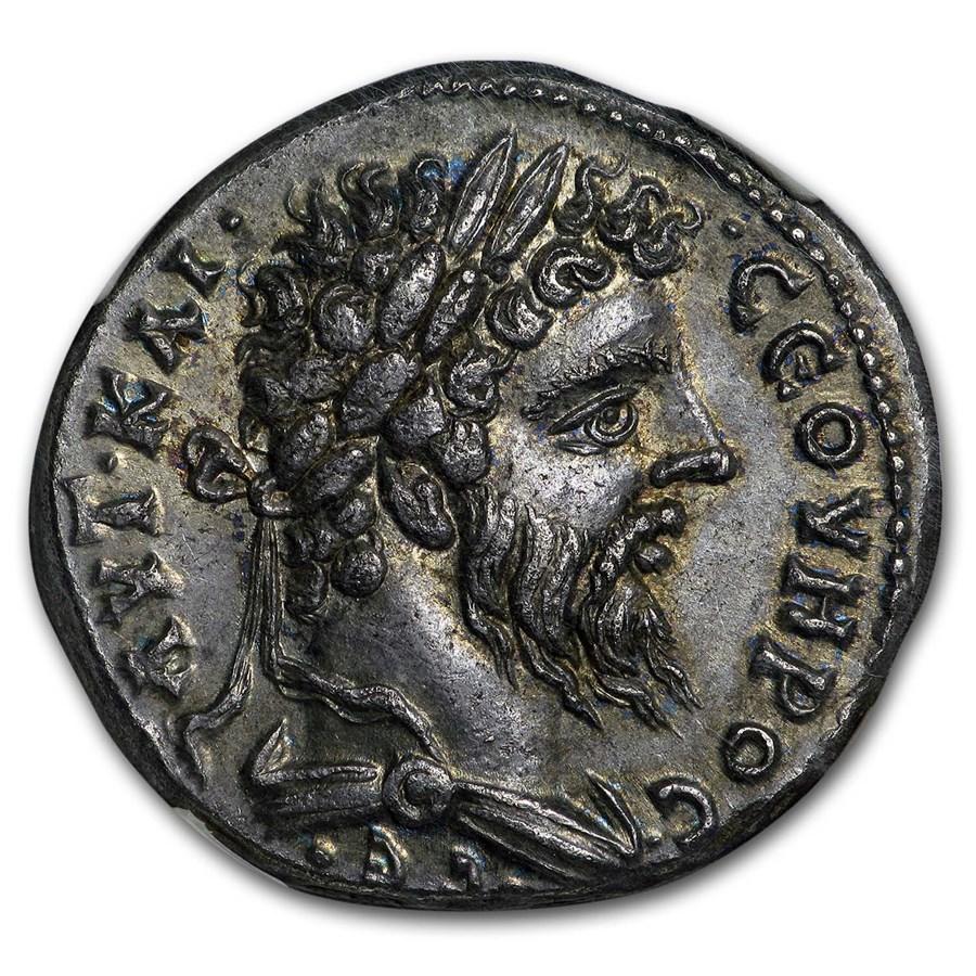 Roman Tetradrachm Sept. Severus 193-211 AD Ch AU NGC (Fine Style)