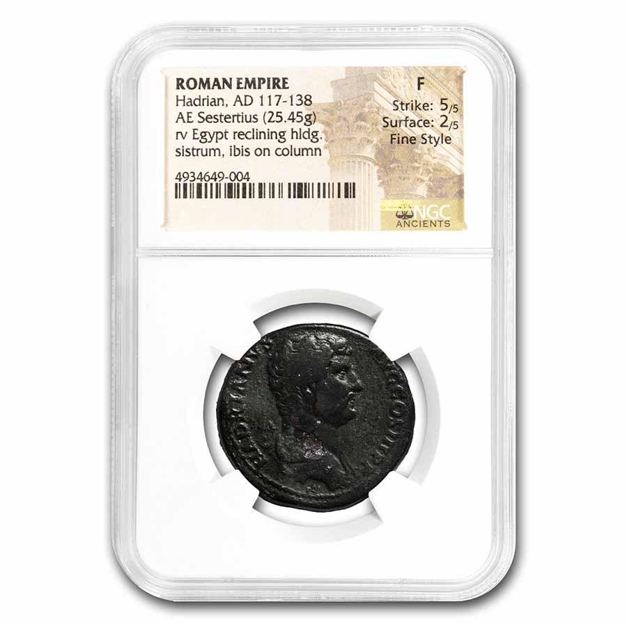 Rome AE Sestertius Hadrian (117-138 AD) Fine NGC (RIC II.3 1594)