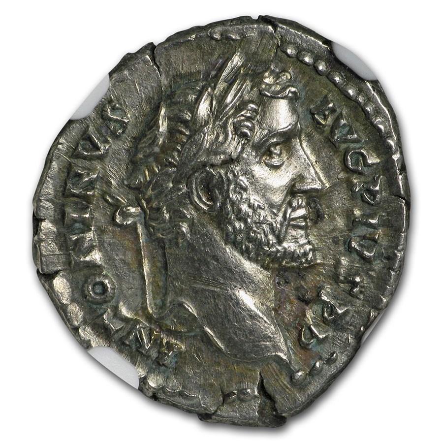 Rome AR Denarius Anton. Pius (138-161 AD) Ch AU NGC (RIC III 137)
