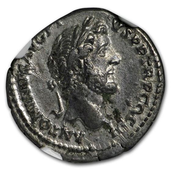 Rome AR Denarius Emp Ant. Pius (138-161 AD) AU NGC (RIC II 417a)