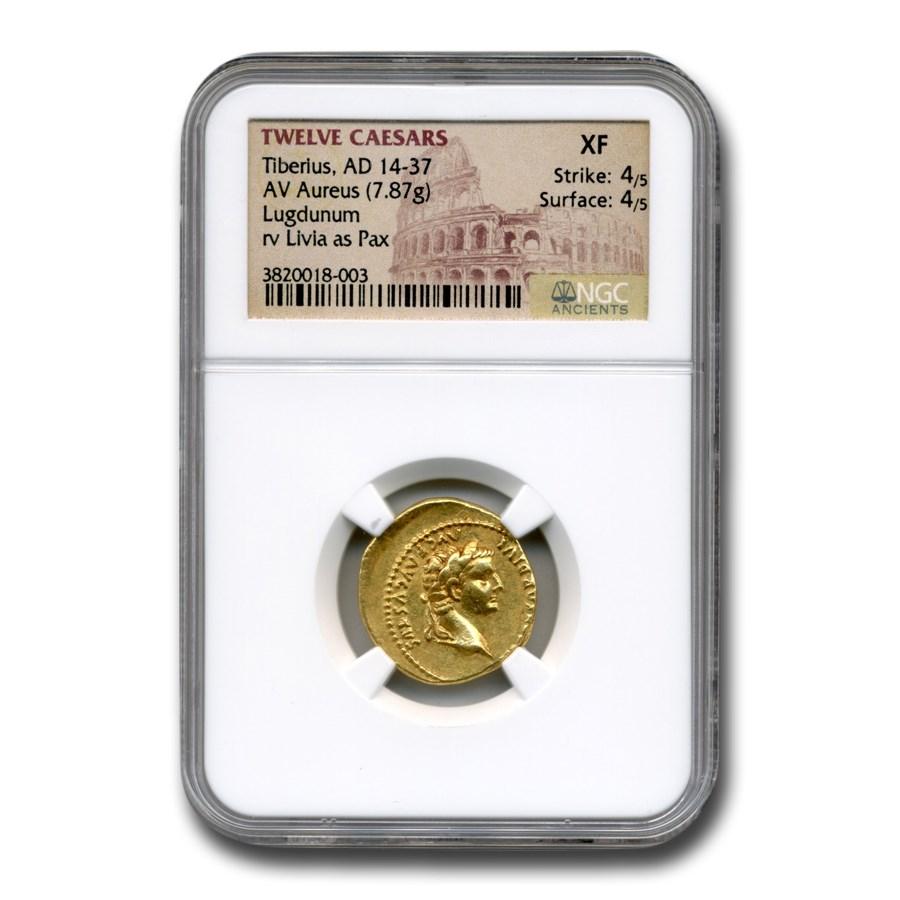 Rome AV Aureus Emp Tiberius (14-37 AD) XF NGC (Tribute Penny)