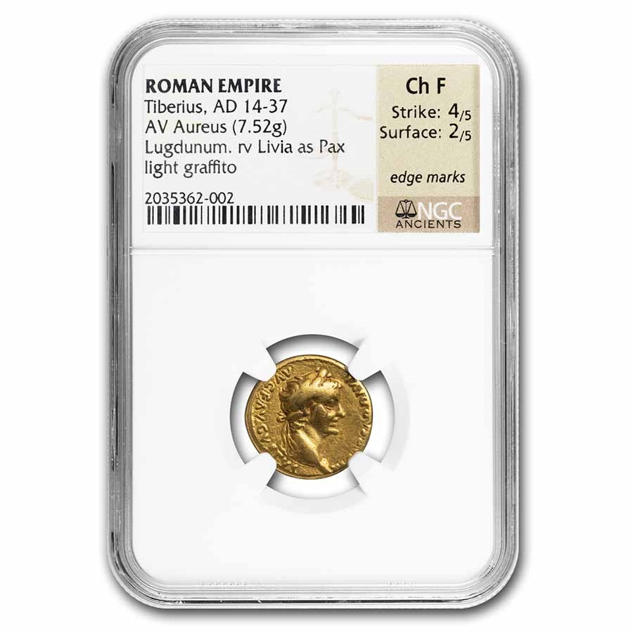 Rome AV Aureus Tiberius 14-37 AD Ch Fine NGC (Tribute Penny)