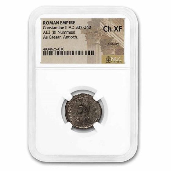 Rome BI Nummus Constantine II 337-340 Ch XF NGC (RIC VII 73)