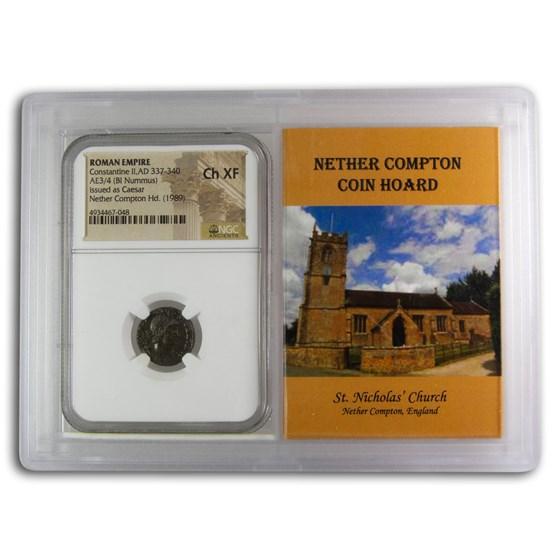 Rome BI Nummus Constantine II Ch XF NGC (Nether Compton Vault)
