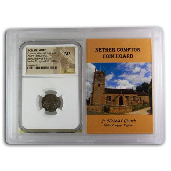Rome BI Nummus Constantinian 330-40 MS NGC (Nether Compton Vault)