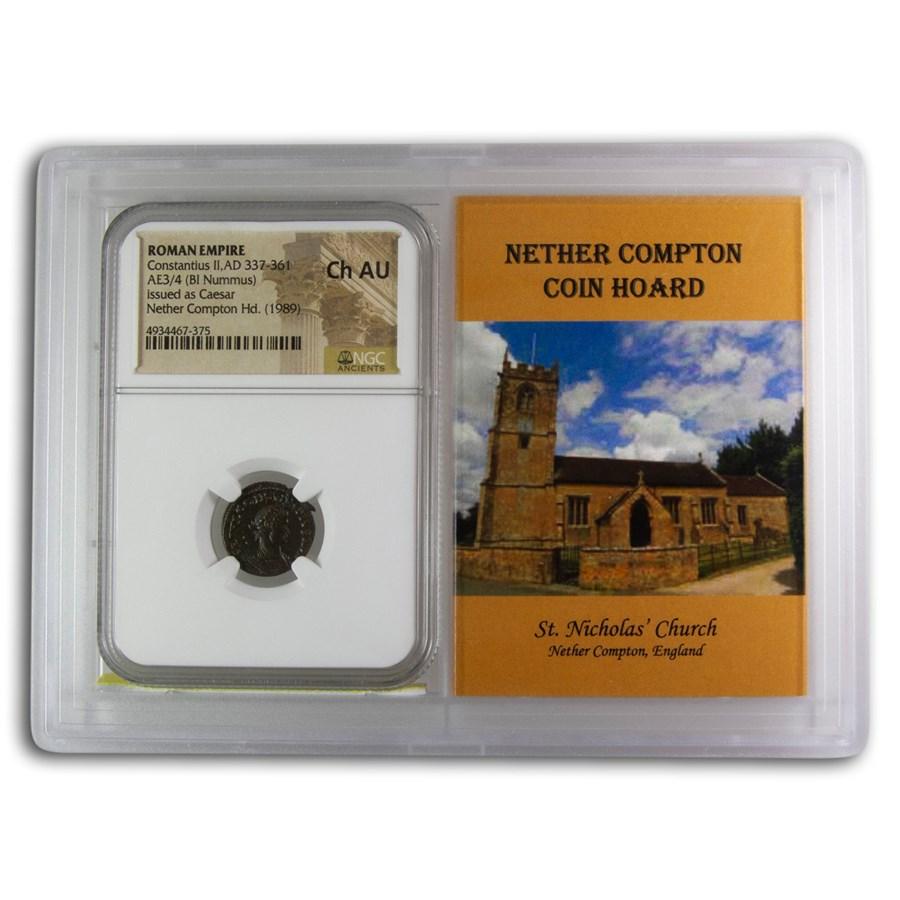 Rome BI Nummus Constantius II Ch AU NGC (Nether Compton Vault)