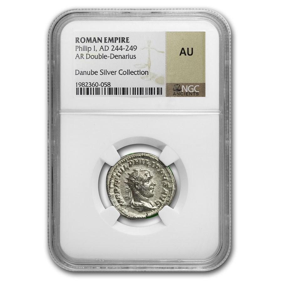 Rome Silver Double Denarius Philip I (244-249 AD) AU NGC