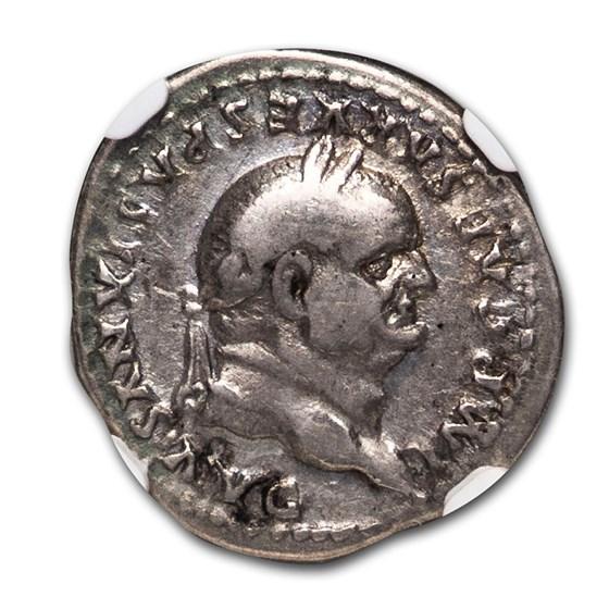 RomeAR Denarius Vespasian (69-79 AD) Ch Fine NGC (RIC II 1065)