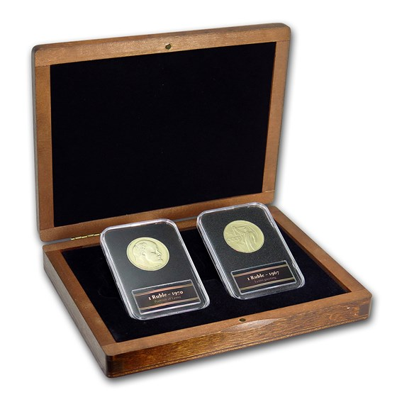 Russia Lenin 1 Ruble 2-Coin + Stamp Set