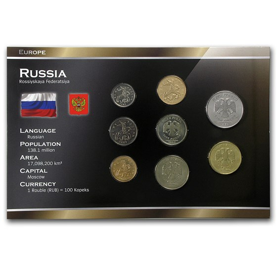 Russia Post-USSR 8-Coin Set BU