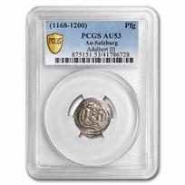 Salzburg Silver Pfennig Adalbert III (1168-1200 AD) AU-53 PCGS